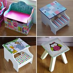 Más Chicos: Laburo Chino Painted Wooden Boxes, Painted Stools, Hand Painted Furniture, Wood Crafts, Diy And Crafts, Creative Kids Rooms, Kids Room Furniture, Small Wood Projects, Kid Table