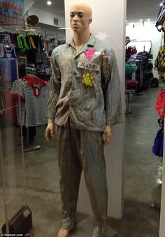 A gay men's activewear store in West Hollywood, Los Angeles is shocking passersby with a controversial window display featuring a mannequin dressed up as a gay Holocaust victim.