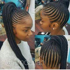 Feed-in cornrow ponytail Cornrow Ponytail, Braided Ponytail Hairstyles, My Hairstyle, Braided Ponytail Black Hair, Beehive Hairstyle, Ghana Braids Updo, Feed In Braids Ponytail, High Ponytails, Braided Updo