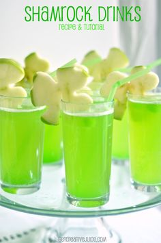Leprechaun Juice: 1 part pineapple juice, 1 part sparkling lemonade, 1 part sparkling white grape juice. Diced lime popsicles. garnish with sliced green apples cut into shamrocks with cookie cutter.