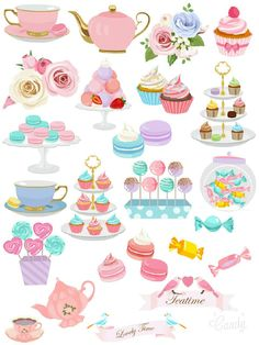 Tea Time - Sticker Printable #sticker#printable#sweet#macaroon#candy#cupcake#scrapbooktools#diy#candycameraapp