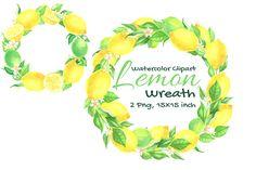 Wedding Frames, Wedding Art, Boho Wedding, Watercolor Fruit, Watercolor Wedding, Baby Shirt Design, Lemon Art, Lemon Wreath, Cute Fruit