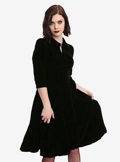Black Half-Sleeve Fit & Flare Velvet Dress, BLACK