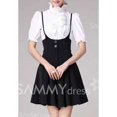 Solid Color Straps Pleated Ladylike Style Polyester Skirt For Women