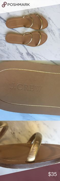 J Crew gold sandals Gold J Crew slip on sandals. Abrasion on left side, shown in one of the pictures. Worn but in overall great condition. J. Crew Shoes Sandals