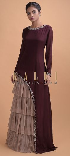 Wine Long Dress In Crepe With Asymmetric Cut And Dusty Pink Layered Details Online - Kalki Fashion Party Wear Gowns Online, Gown Party Wear, Designer Party Wear Dresses, Kurti Designs Party Wear, Indian Designer Outfits, Designer Gowns, Party Online, Designer Wear, Sleeves Designs For Dresses