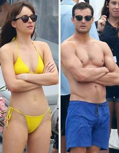 Jamie Dornan and Dakota Johnson on set filming Fifty Shades Freed in France July13