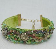 Fiber art, beaded & embroidered bracelet