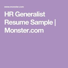 resume hr generalist resume sample monstercom