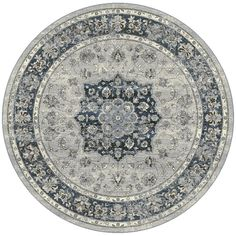 Dynamic Rugs Ancient Garden 57559-9686 Silver/Blue Rug