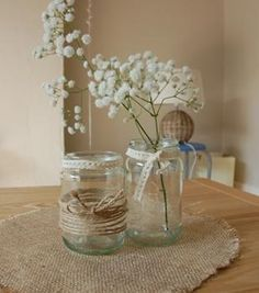 jam jars with string and lace - Google Search