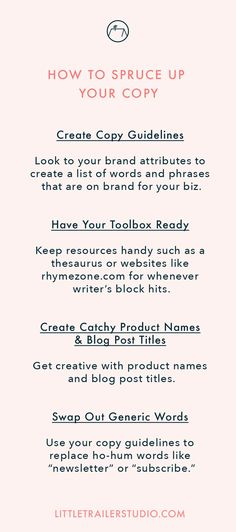 Whip your copywriting skills into shape! In this blog post I'll give you 5 tips to writing copy that wows your customers and fits your brand. Click through to read full post!
