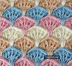 Crochet Shell Textured Stitch   MyPicot   Free crochet patterns   11-21-16    ♡ ANOTHER BEAUTIFUL PATTERN!!! ♥A
