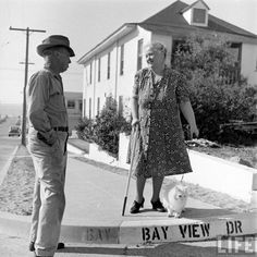 "Mr. Neighbor is all, ""Can I help you cross the street?"" and Mrs. Swanson is like, ""Nah, I have a seeing eye cat, but thanks."" 