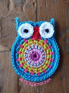 Crochet owl application 'turquoise'