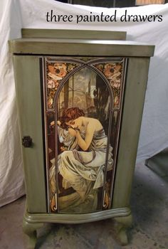 Record Cabinet in Basil Green Glazed with Van Dyke Brown