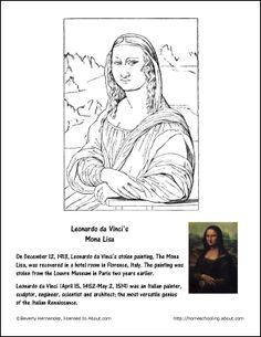 Fritters Coloring Page - Teachable Moments in December: Mona Lisa Coloring Page