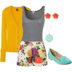 Multicolored Shorts, created by elyse-bezarro.polyvore.com