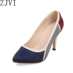 ZJVI mix color pointed toe Thin High heels pumps woman shoes summer autumn wedding Female elegant women's causel work Pumps