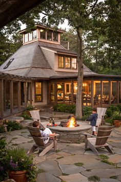 rustic exterior Casual outdoor living for a family