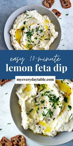 This whipped lemon feta dip makes for the BEST Mediterranean appetizer! It's made with just 6 simple ingredients that you probably already have and is ready to serve in just 10 minutes. Scoop it up with crackers, veggie or spread on a sandwich! Dip Recipes, Low Carb Recipes, Appetizer Recipes, Healthy Recipes, Healthy Meals For Kids, Healthy Food, Mediterranean Appetizers, Feta Dip, Lunchbox Ideas