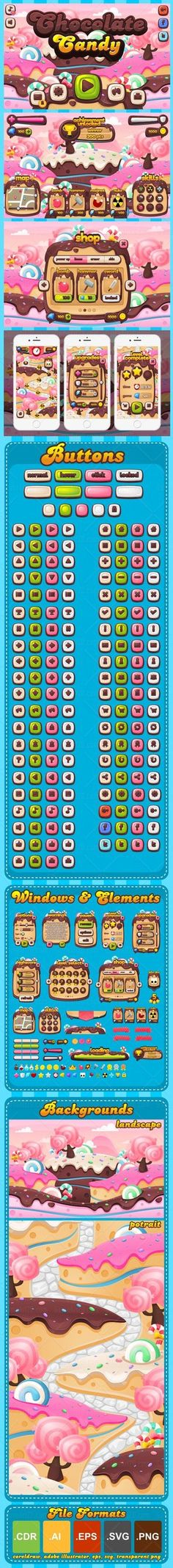 A complete set of graphical user interface (GUI) to build 2D video games. With chocolate, candy, & fantasy theme. Suitable for casual, puzzle, match three, or other games with similar theme. #2d #game #assets #ui #gui #candy #cake