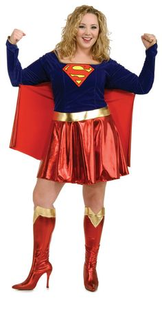 Supergirl Plus Size Halloween Costume - Calgary, Alberta. This costume is perfect for a superheroes costume party, a comic con or a couples costume with Superman. This is a plus size Supergirl costume. This is a classic superhero costume for Halloween. This is a three-piece costume with a dress with attached cape, boot tops, and belt. The dress has a velour topic with a shiny red skirt and cape. The dress has a square neckline and fitted point sleeves with shiny gold trim.