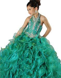 Cute Pink Net Halter Floor Length Little Girl&39s Dress  Girl ...