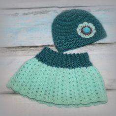 Newborn crochet Skirt and hat set Crochet by FairytalePhotoProp
