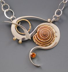 sundial shell from the Atlantic Ocean with citrine.