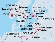 Travel through western Europe on a tour from Oslo to Berlin. Visit Norway, Sweden, Finland, Estonia, Latvia, Lithuania, Poland and Germany.