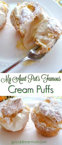 My Aunt Pat's Famous Cream Puff recipe is deceptively easy, but impressive. The best cream puffs you will ever make, just look at the post's comments! 13 Desserts, Delicious Desserts, Dessert Recipes, Yummy Food, Dessert Bread, Plated Desserts, Recipes Dinner, Pastry Recipes, Cooking Recipes