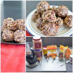 Boule d'énergie 1 tasse d'amande 1/2 tasse de noix de cajou Dans un robot culinaire, mélanger les amandes et noix de cajou jusqu'à ce qu'elles soient grossièrement hachées. 1 tasse de Dattes dénoyautées 1/4 tasse d'abricots séchés 1c. à table de graine de chia 2c. à soupe de sirop d'érable 1/4 de tasse de cacao poudre 2c. à soupe d'eau Ajouter le reste des ingrédients puis mélanger pendant quelques minutes, ensuite ajouter une petite quantités d'eau pendant que le tout mélange dans le…