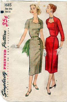 1950s Dress Pattern Simplicity 1685