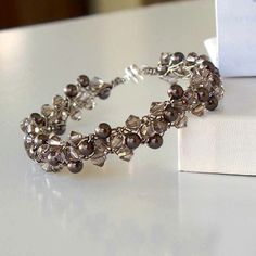 Multiple Strand Swarovski Crystal and Pearl by CrochetHooked, $36.48