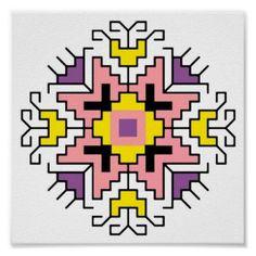 Shop Wall Art Bulgarian motif shevitsa purple created by FioShop. Folk Embroidery, Embroidery Patterns, Cross Stitch Designs, Cross Stitch Patterns, Russian Cross Stitch, Indiana, Fuse Beads, Star Patterns, Custom Posters