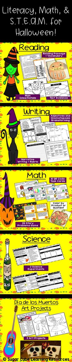 Your students will love these Halloween themed reading, writing, math, science, and art activities!