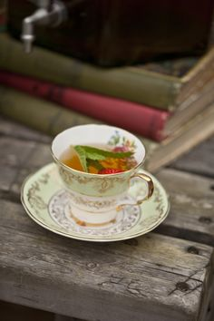 Pimms in a vintage china tea cup, afternoon tea cocktails