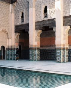 The Ben Youssef Madrasa Moroccan Patio-Details:   Beige-Blue Moroccan Patio,   Blue Moroccan Pool