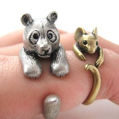$12.50 3D Panda Bear Ring in Silver - Sizes 5 to 10 Available
