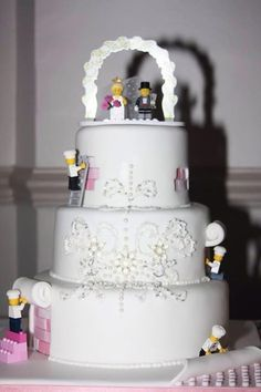 LEGO wedding cake with detailed piping and tiny working 'Chef's' ~ all edible