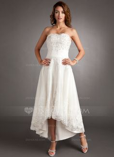 Wedding Dresses - $149.99 - A-Line/Princess Sweetheart Asymmetrical Tulle Wedding Dress With Lace Beadwork (002011546) http://jjshouse.com/A-Line-Princess-Sweetheart-Asymmetrical-Tulle-Wedding-Dress-With-Lace-Beadwork-002011546-g11546?ver=0
