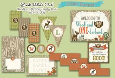 Woodland First birthday 1st Party Package Instant by girlsatplay