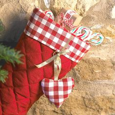 Set Of Two Gingham Christmas Stockings