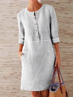 2020 Fashion Stripe Shirt Dress Women Celmia Plus Size Long Sleeve Pockets Midi Dress Long Tops Casual Loose Party Vestidos Robe Striped Shirt Dress, Striped Long Sleeve Shirt, Tunic Shirt, Dress Outfits, Casual Dresses, Fashion Dresses, Fashion Hair, Womens Fashion, Casual Tops