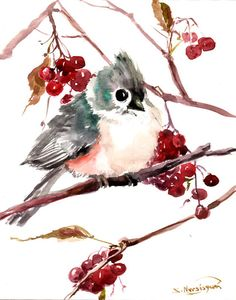 Titmouse Original watercolor painting 10 X 8 in by ORIGINALONLY, $34.00