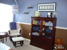 blue and brown nursery...love the two tone walls