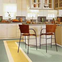 Similar to synthetic vinyl, linoleum offers a vintage, all-natural flair. Mix several colors of this durable material for a custom look. Marmorette flooring From $4 installed Armstrong 800-233-3823; armstrong.com/