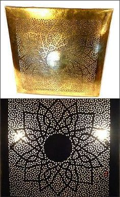 """MOROCCAN WALL SCONCE IN BRASS METALWORK THIS MOROCCAN SCONCE IN NEW CONDITION MEASURES 23""""""""X 23"""""""" IN PATINA BRASS COLOR AND HAND HAMMERED CARVED AND ENGRAVED TEXTURE , READY TO USE  ELECTRIC CABLES INCLUDED This Moroccan Sconce lamp is made in brass engraved texture perforated Using a fine blade fretsaw tool, the master artisan follows a paper pattern and does the intricate cutting work. brass is cut, sculpted and engraved with extreme finesse.Hand Carved Hammered Patina Brass  110 Watts…"""