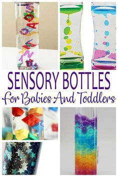 Sensory Bottles For Babies! Sensory Bottles For Toddlers! Find the best sensory bottle ideas from DIY sensory bottles with glitter, food coloring and more. Learn how to make sensory bottles with a variety of ingredients from hair gel to mineral oil to dish soap and more. These may calm down children and may offer fine motor skills. These make fun activities for little ones. A great kids craft to provide hours of fun. Use at home or in the classroom. Get awesome sensory bottle ideas now!